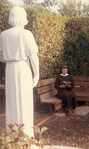 St. Joseph the Worker statue, Sr. Mary Anne praying in Sr. Emmanuel's hermitage
